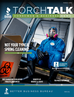 BBB Torch Talk Magazine with Bio NW on the cover